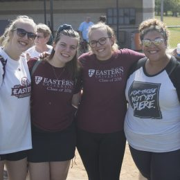 Left: Eastern students and community members gather to take part in 5K run to raise awareness for human trafficking. Above: (from left to right) Eastern students Michelle Miles, Marcy Andersen, Tessa Allebach, and Lishaly Madera support SAHT in their attendance at the race.